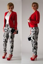 red H&M jacket - red Zara heels - blue printed H&M pants