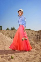 carrot orange pleated maxi Primark skirt - beige fedora H&M hat