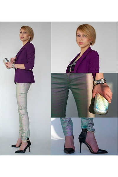 aquamarine holographic H&M pants - purple Zara jacket - silver snake H&M bag