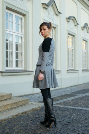 charcoal gray dress - black leather Camaïeu jacket