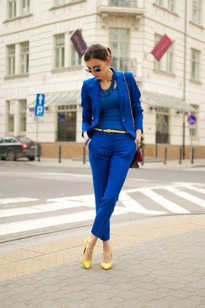 blue Zara suit - yellow Aldo heels