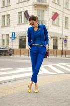 blue Zara suit - yellow Aldo heels