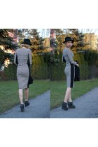 black H&M hat - white striped new look dress - black Zara wedges