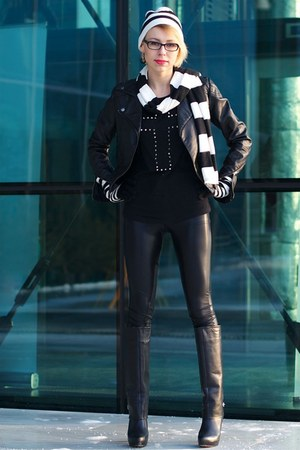 Zara boots - asos jacket - armani leggings - H&amp;M scarf - Bershka blouse