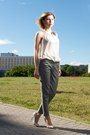 Ivory-transparent-shirt-silver-creased-zara-pants