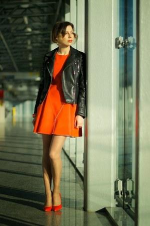 black leather Zara jacket - carrot orange Front Row Shop dress