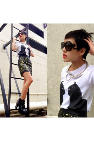 Jeffrey Campbell shoes - H&amp;M x MMM necklace - Singapore skirt - Prada glasses