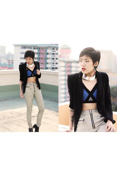 UNIF pants - Bershka blazer - bra - UNIF heels - Vivienne Kelly earrings