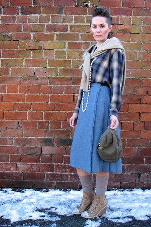 vintage shirt - vintage Pringle of Scotland sweater - thrifted vintage skirt - A