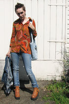 orange vintage charity shop shirt - blue Miss Selfridge jeans - brown bullboxer