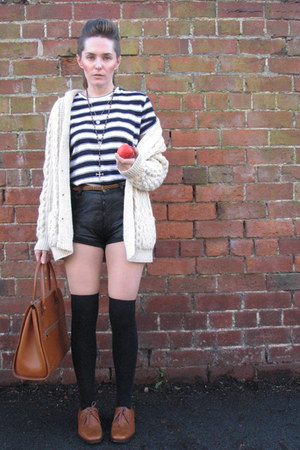 thrifted vintage top - thrifted vintage cardigan - thrifted vintage shorts - thr