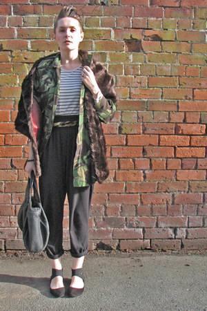 strappy ballet Newlook flats - camo army surplus jacket