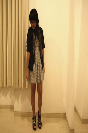 black elbelle blazer - gray trifted dress - Gosh shoes