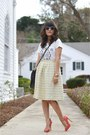 White-jcrew-shirt-black-coach-bag-salmon-aldo-pumps