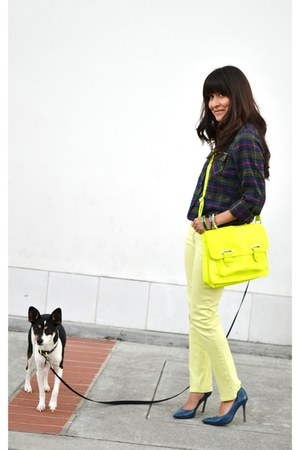 yellow Target purse - lime green Mossimo jeans - navy shirt - blue pumps