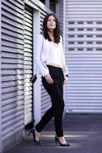 black chic Mango pants - ivory street style Mango blazer
