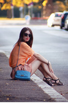 sky blue leather Mango bag - orange chiffon Chicwish shirt