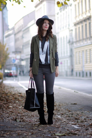 charcoal gray chic H&amp;M hat - black velvet Zara boots