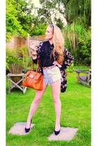tawny Mulberry bag - light blue Levis shorts - brown H&M sunglasses - black Tops