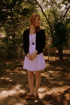 Goodwill blazer - Old Navy dress - Minnetonka shoes - forever 21 necklace