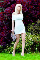 white OASAP dress - black karen millen bag