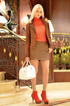 red shirt - white Furla bag - burnt orange Zara skirt