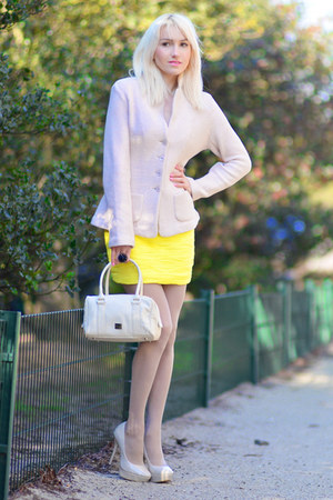 yellow Forever 21 dress - ivory apostrophe jacket - ivory armani bag