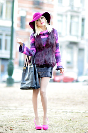 magenta H&amp;M hat - black VERSO dress - magenta Promod coat - black Neuville bag
