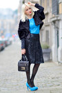 Sky-blue-lana-design-top-black-apostrophe-skirt