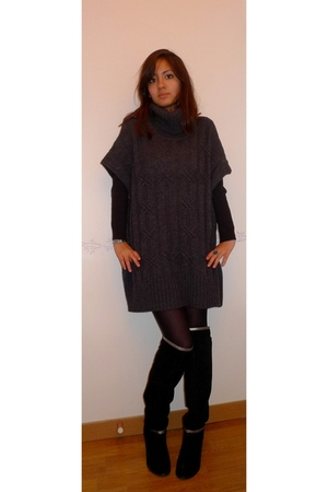 black Mango boots - gray Massimo Dutti dress - black Zara shirt