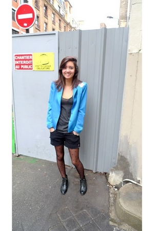 blue Cacharel jacket - black Zara shorts - black new look tights - gray American