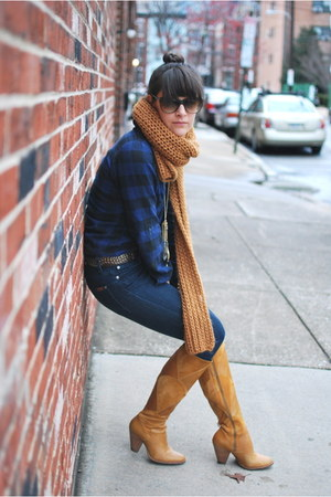 mustard borrowed scarf - Anthropologie boots - high waisted Seven jeans