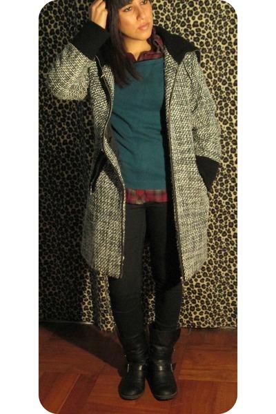 black Skechers boots - silver ada gatti coat - teal Basement sweater