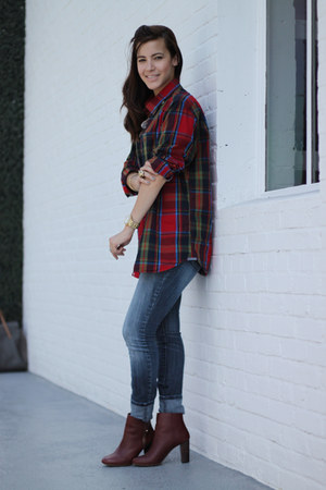 crimson Zara boots - blue skinny Guess jeans - ruby red plaid Old Navy shirt