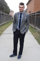 navy le chateau tie - heather gray tweed and slim H&M blazer