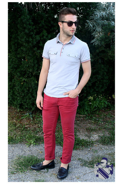 ruby red chinos pants - silver red tipped polo le chateau shirt