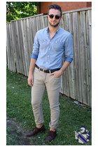 light blue chambray le chateau shirt - dark brown wingtip oxfords thrifted shoes
