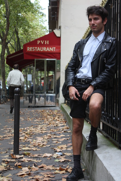 Vintage Leather Jacket jacket - military shoes - military shirt - leivs shorts