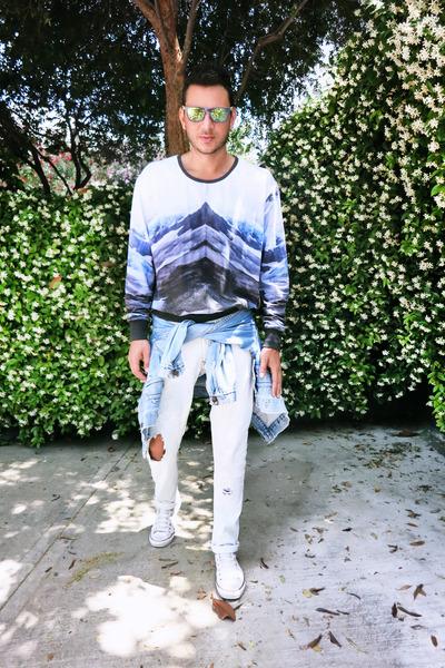blue Levis jacket - light blue Zara jeans - light yellow Oakley sunglasses