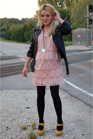 pink velvet torch dress - black Forever21 jacket - gold Forever21 shoes - black