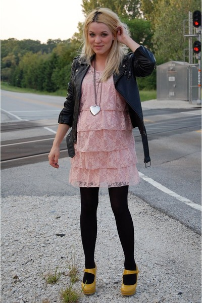 pink velvet torch dress - black Forever21 jacket - gold Forever21 shoes - black