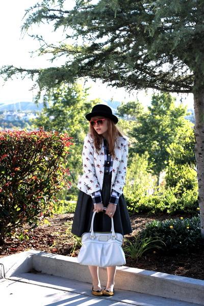 black Target hat - white Zara blazer - gray JCrew shirt - gray Zara skirt - whit