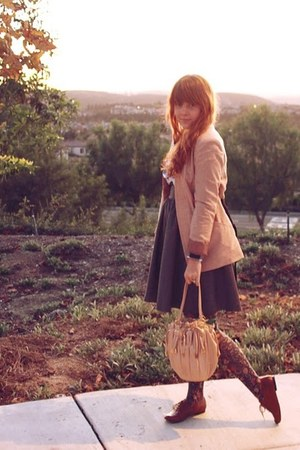 peach Zara blazer - navy JCrew blouse - gray H&amp;M skirt - Urban Outfitters tights