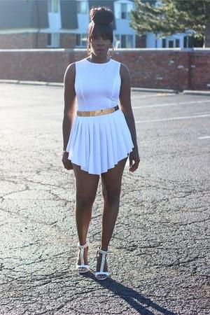 white dress - white chain sandals