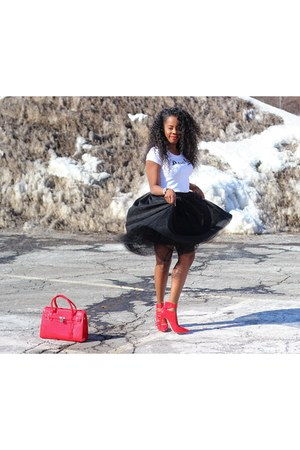 red shoes - white tee shirt - red bag - black tulle skirt