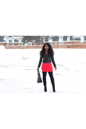 black suede boots - black jacket - black martin bag - red coral skirt