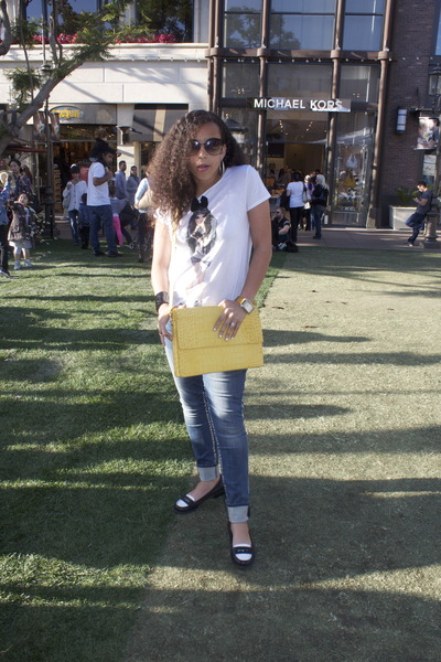 invicta watch - tory burch jeans - bag - gucci glasses - bass loafers