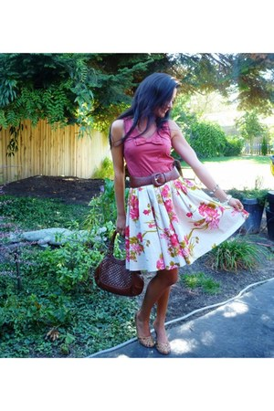 H&M blouse - Cole Haan purse - Nine West heels - View skirt