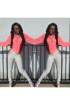 crop-neon pink Bossy nob blouse - Bossy nob leggings
