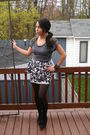 Gray-top-black-shoes-black-stockings-white-skirt-black-bracelet-black